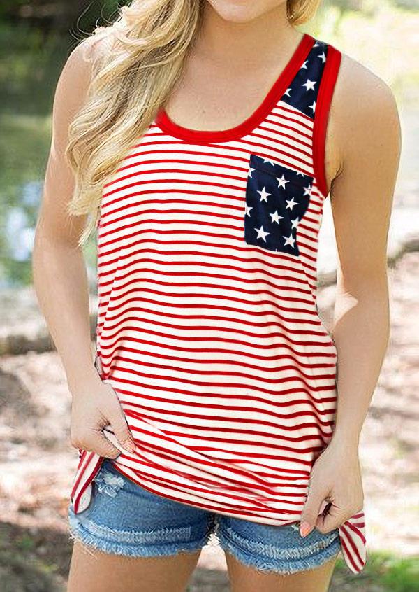 American Flag Star Striped Pocket Tank