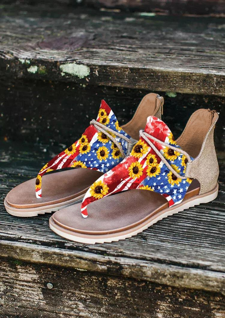 Sunflower American Flag Zipper T-Strap Flat Sandals