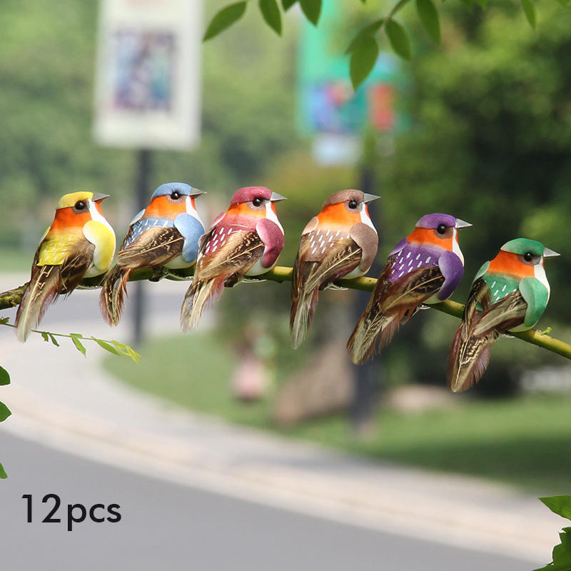 Home Decor 12Pcs Simulation Foam Birds Feather Garden Decoration in Multicolor. Size: One Size