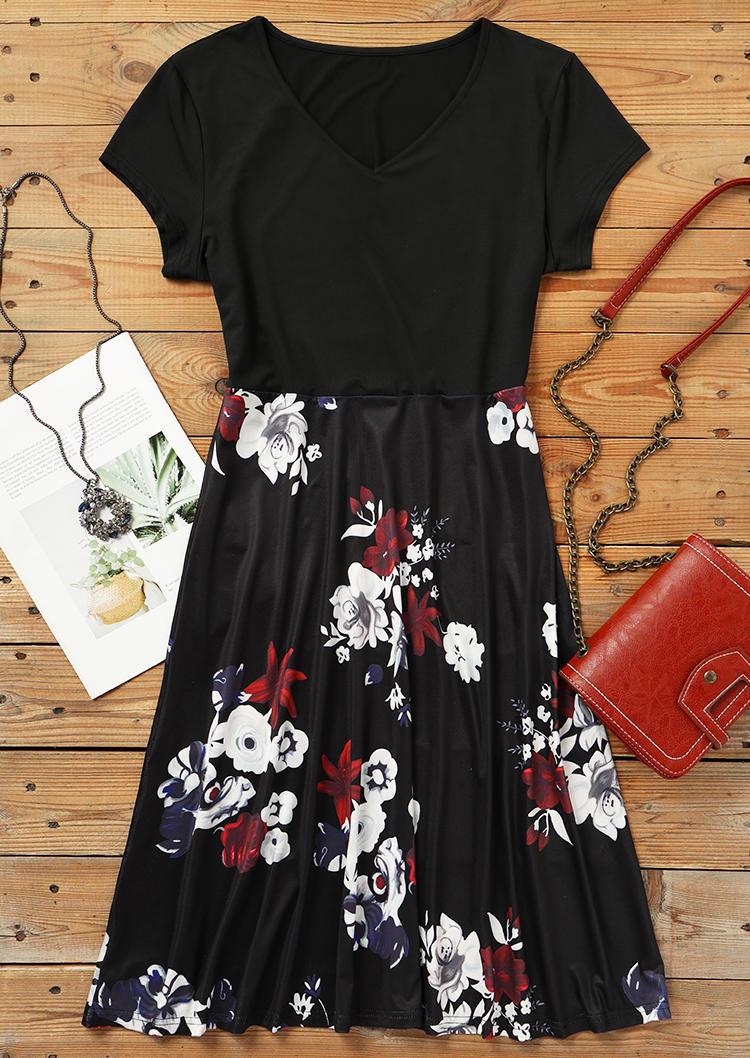 Floral Splicing V-Neck Mini Dress - Black