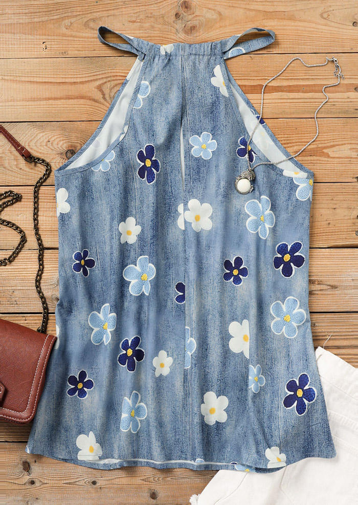 Floral Halter Casual Camisole - Blue