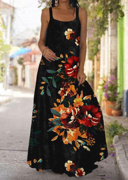 Floral Spaghetti Strap Big Hem Maxi Dress - Black