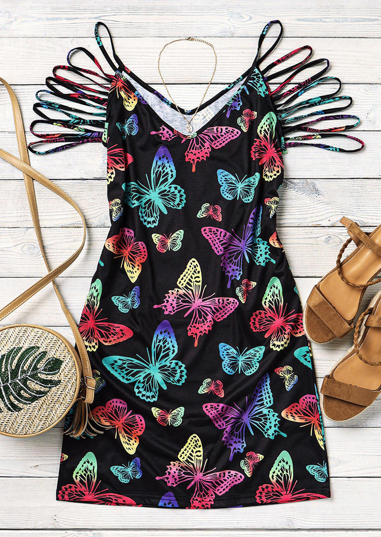 Gradient Colorful Butterfly Hollow Out Pocket Bodycon Dress