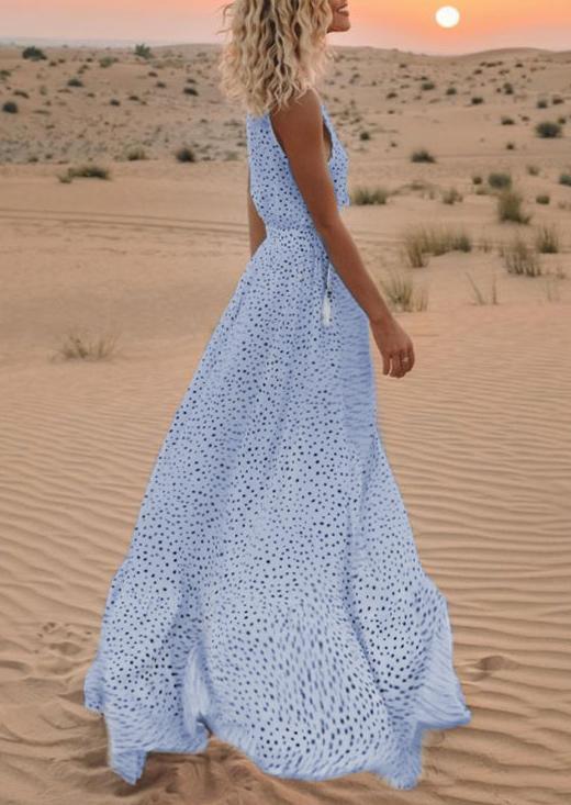 Polka Dot Tie Tassel Elastic Waist V-Neck Maxi Dress - Light Blue