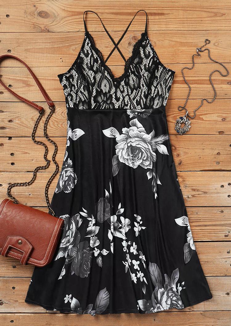 Floral Lace Splicing Criss-Cross Open Back Adjustable Strap Mini Dress