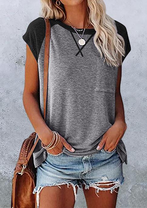 Color Block Pocket Raglan Sleeve T-Shirt Tee - Gray