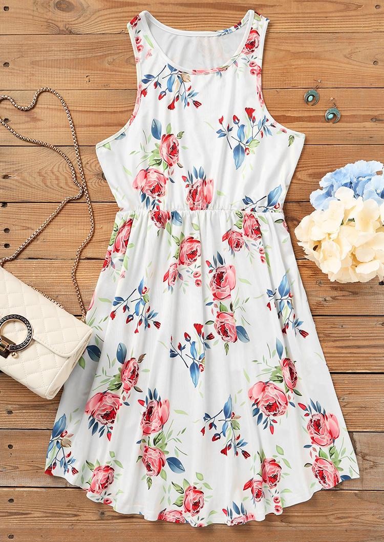 Floral Pocket Elastic Waist Mini Dress - White