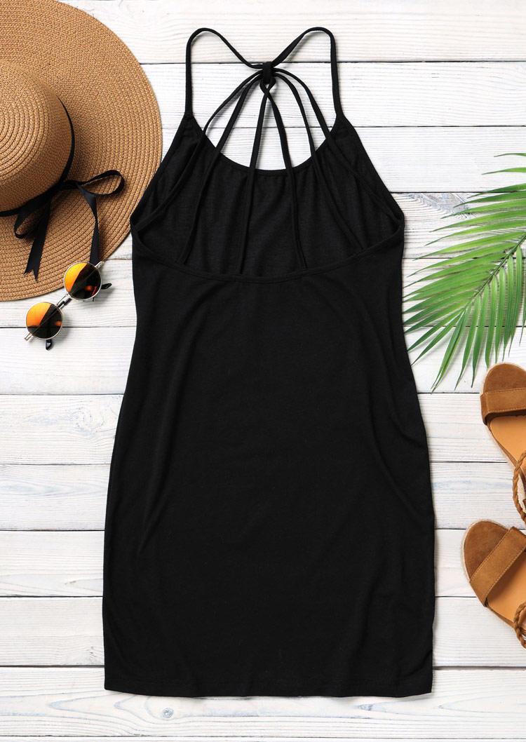 Criss-Cross Open Back Spaghetti Strap Bodycon Dress - Black