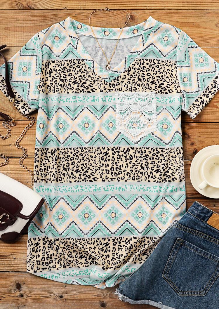 Leopard Geometric Aztec Lace Splicing Pocket Blouse