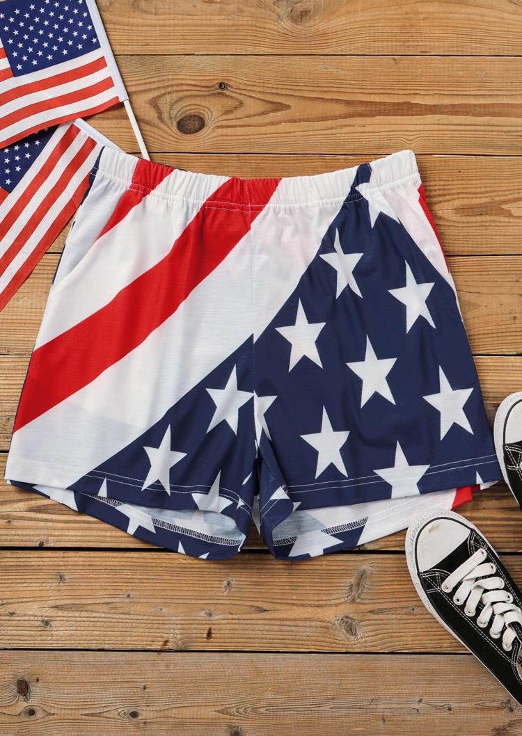 Shorts American Flag Star Pocket Elastic Waist Shorts in Multicolor. Size: L