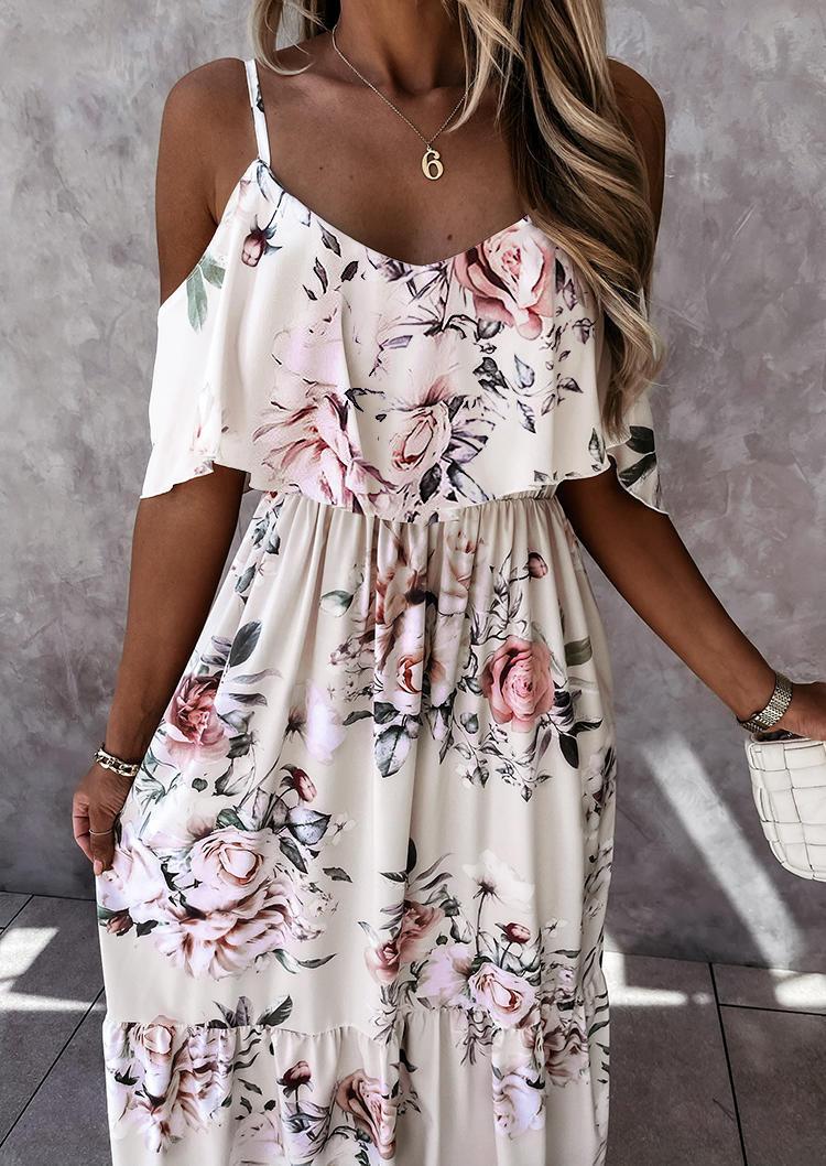 Floral Ruffled Layered Off Shoulder Big Hem Maxi Dress