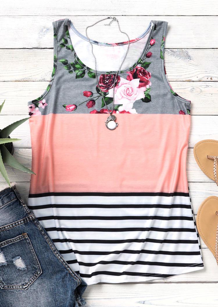 Floral Striped Color Block Lace Splicing Tank