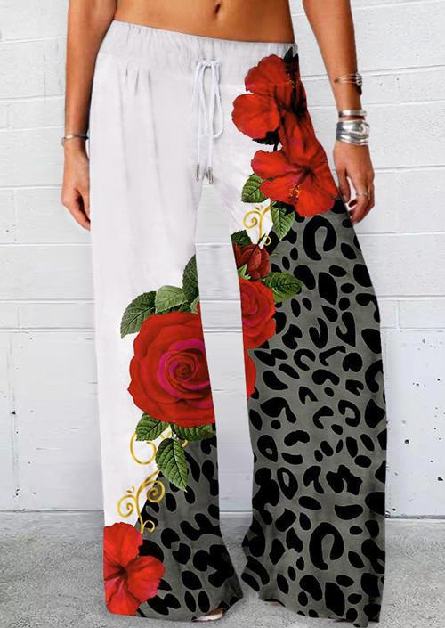 Leopard Rose Elastic Waist Drawstring Wide Leg Pants