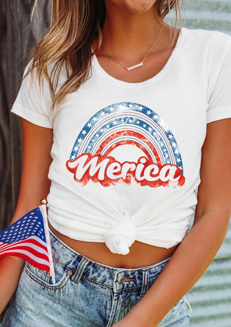 Merica Star Rainbow T-Shirt Tee - White