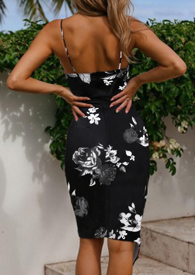 Floral Asymmetric Ruffled Spaghetti Strap V-Neck Bodycon Dress - Black