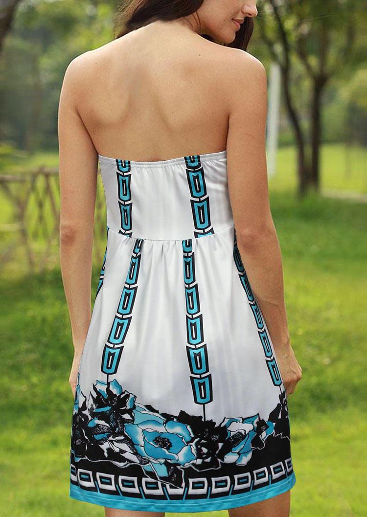 Floral Geometric Ruffled Strapless Mini Dress - White
