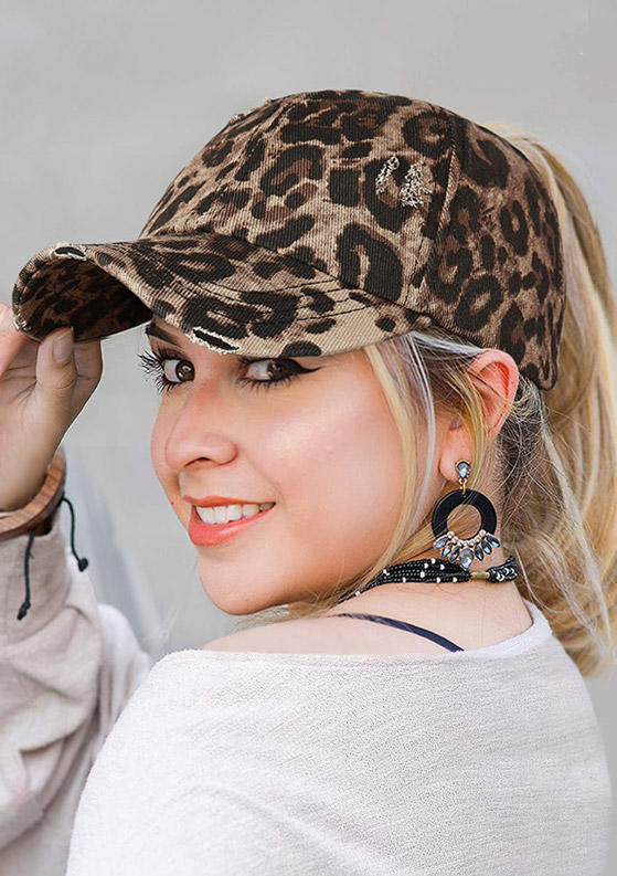 Fairyseason coupon: Leopard Criss-Cross Hollow Out Ripped Washed Baseball Cap
