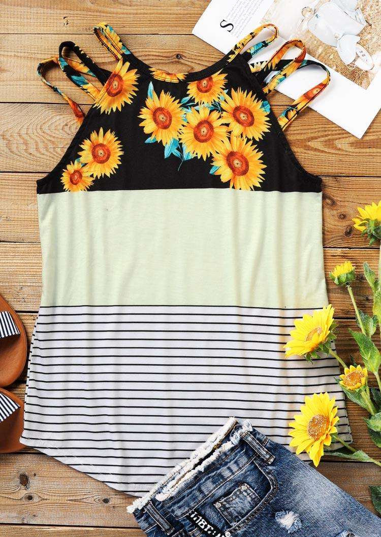 Sunflower Striped Color Block Hollow Out Camisole