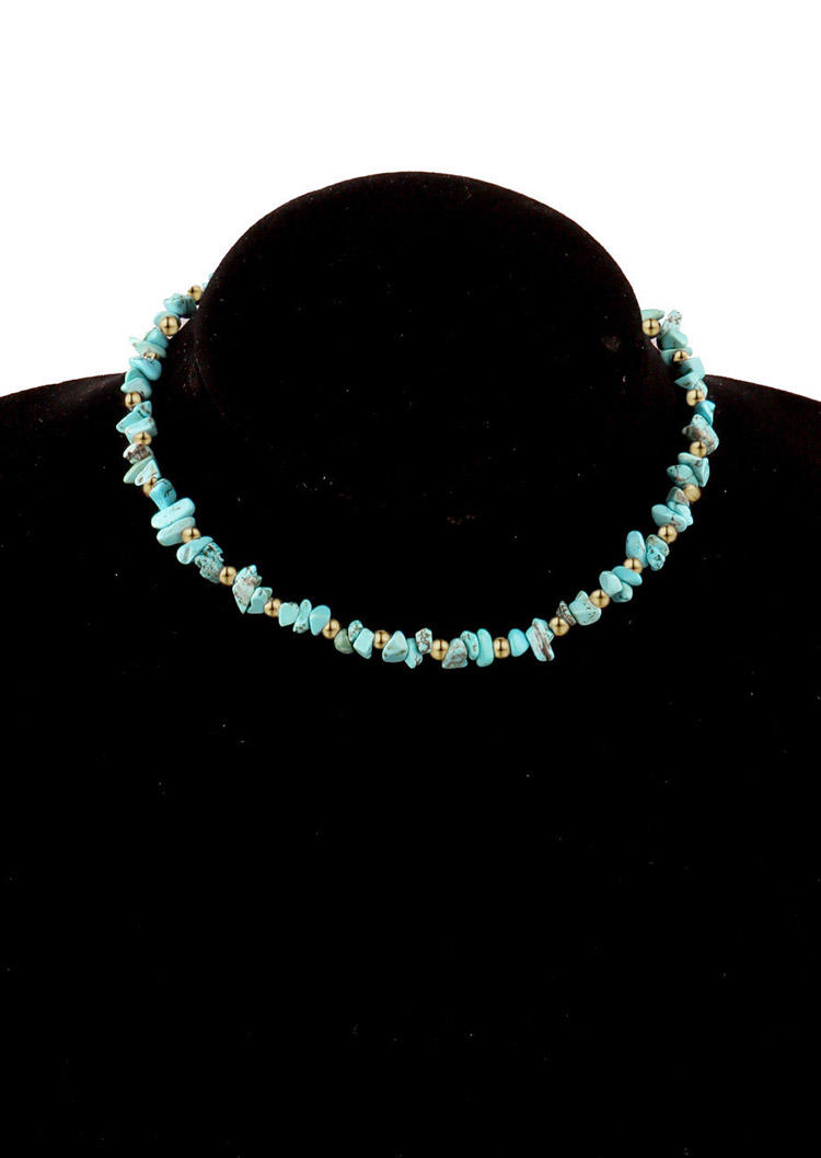 Bohemian Asymmetric Turquoise Choker Necklace - Cyan