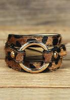 Leopard Printed Adjustable Wide Leather Bracelet