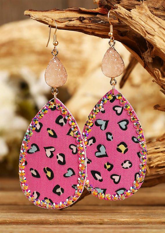 Heart Rhinestone Water Drop Earrings