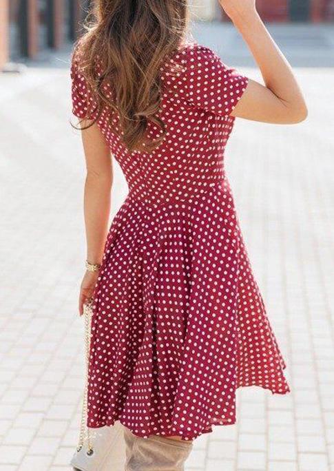 Polka Dot V-Neck Mini Dress - Red