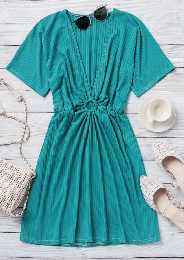 Ruffled Hollow Out Deep V-Neck Mini Dress - Green