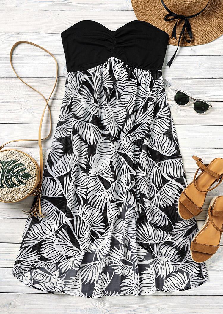 Palm Leaf Strapless Elastic Waist Asymmetric Midi Dress