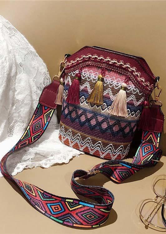 Geometric Aztec Tassel Adjustable Strap Messenger Crossbody Bag