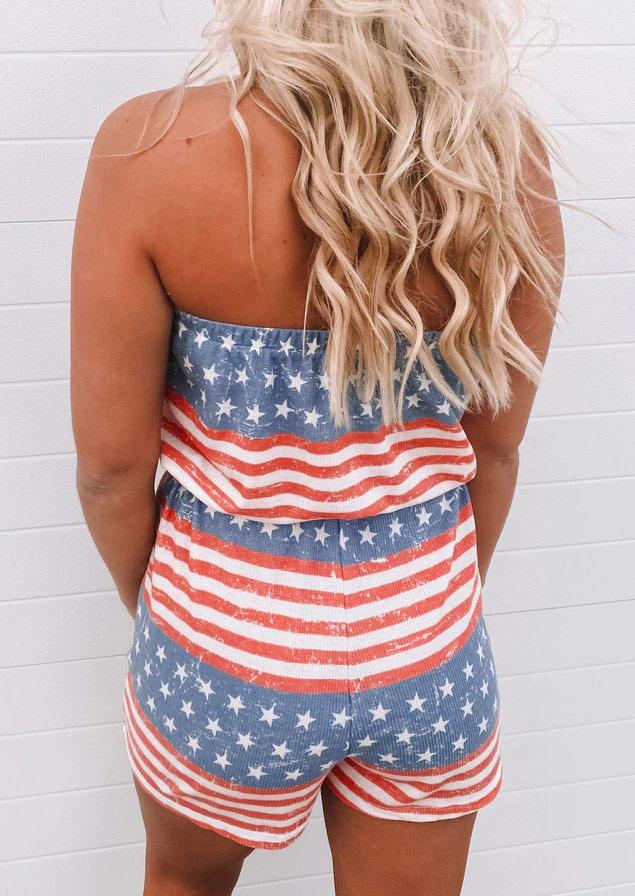 American Flag Star Striped Strapless Pocket Romper