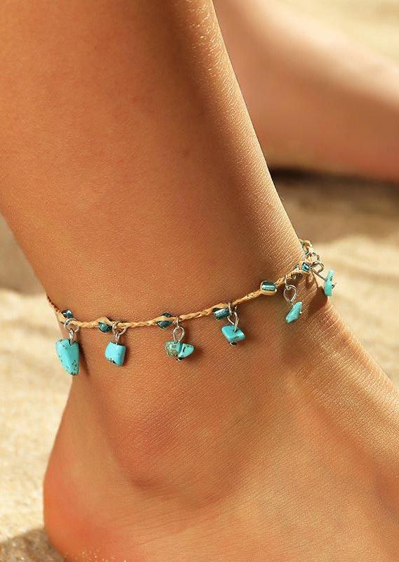 Body Jewelry Beach Turquoise Tassel Woven Raffia Anklet in Multicolor,Cyan. Size: One Size