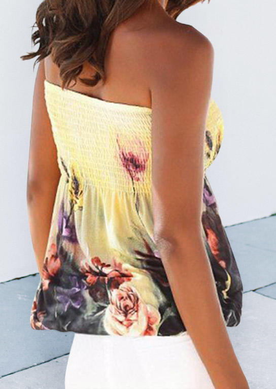 Colorful Floral Smocked Strapless Tank