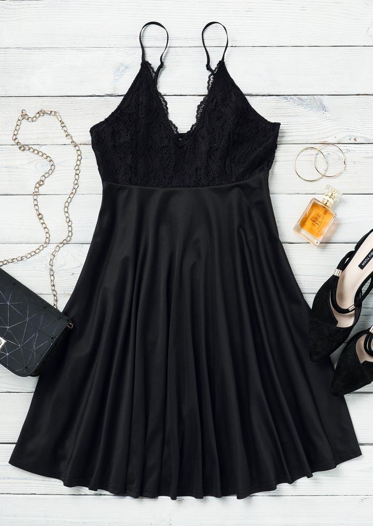 Lace Spaghetti Strap Mini Dress - Black