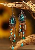 Vintage Leaf Bead Tassel Water-Drop Shaped Earrings
