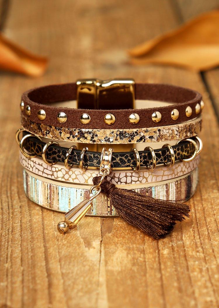 Fairyseason coupon: Leopard Tassel Beading Multi-Layered Leather Bracelet