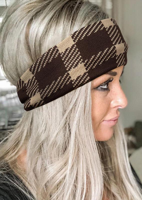Fairyseason coupon: Plaid Splicing Twist Knitted Casual Wide Headband