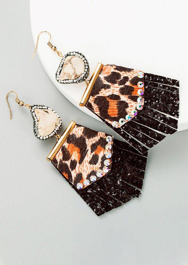 Creative Leopard Sequined Splicing Rhinestone Earrings