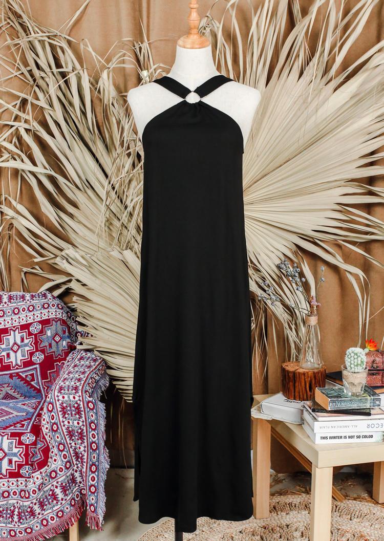 Cut Out Halter Slit Pocket Midi Dress - Black