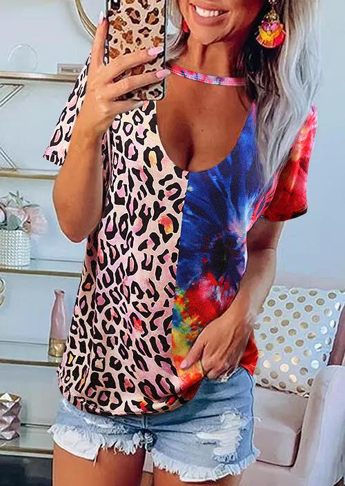 Colorful Leopard Tie Dye Keyhole Neck Blouse