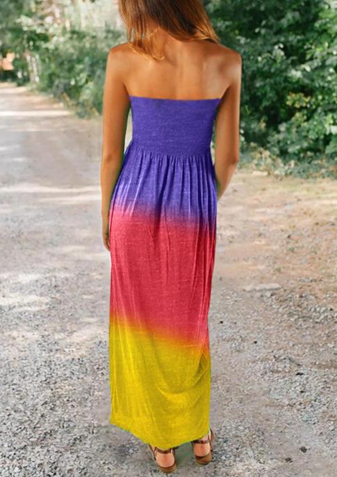 Gradient Pocket Strapless Maxi Dress without Belt