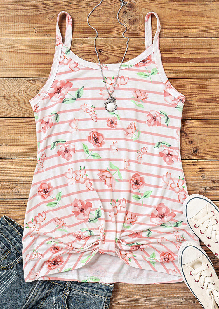 Floral Striped Twist Camisole - White