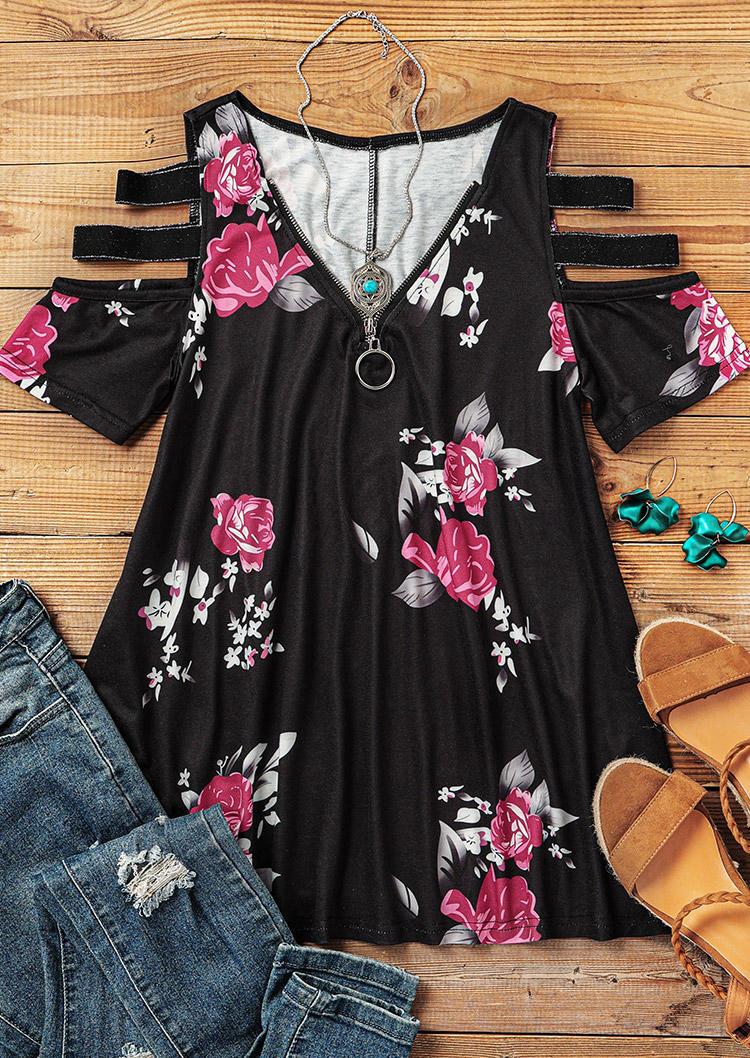 Floral Zipper Collar Cold Shoulder Blouse - Black