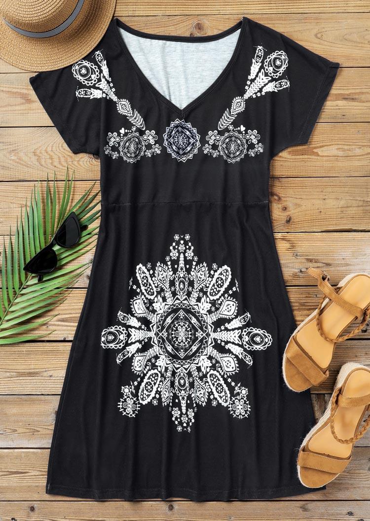 Arabesque Mandala Vintage Mini Dress - Black