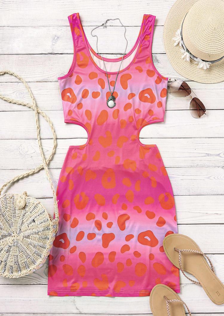 Leopard Gradient Hollow Out Bodycon Dress