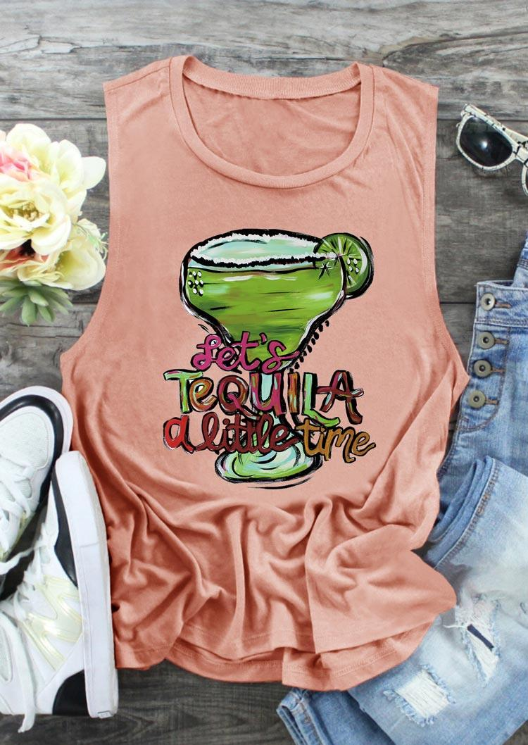 Let's Tequila A Little Time O-Neck Tank - Flesh
