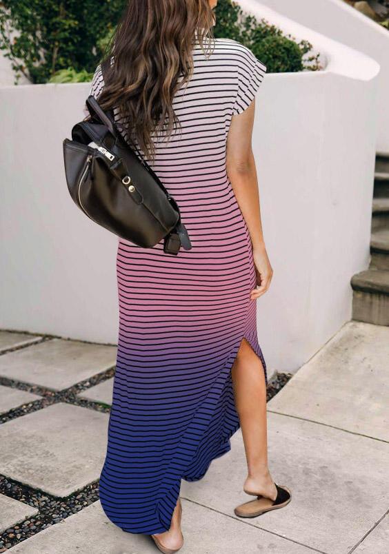 Gradient Striped Slit V-Neck Maxi Dress