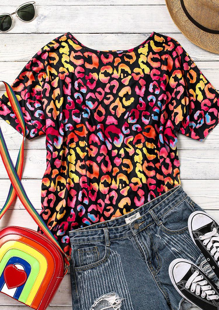 Colorful Leopard Open Back Twist Blouse