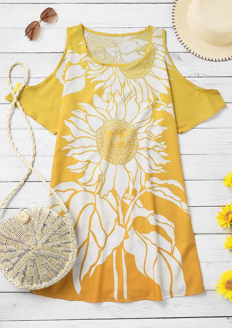 Sunflower ColdShoulder Mini Dress - Yellow