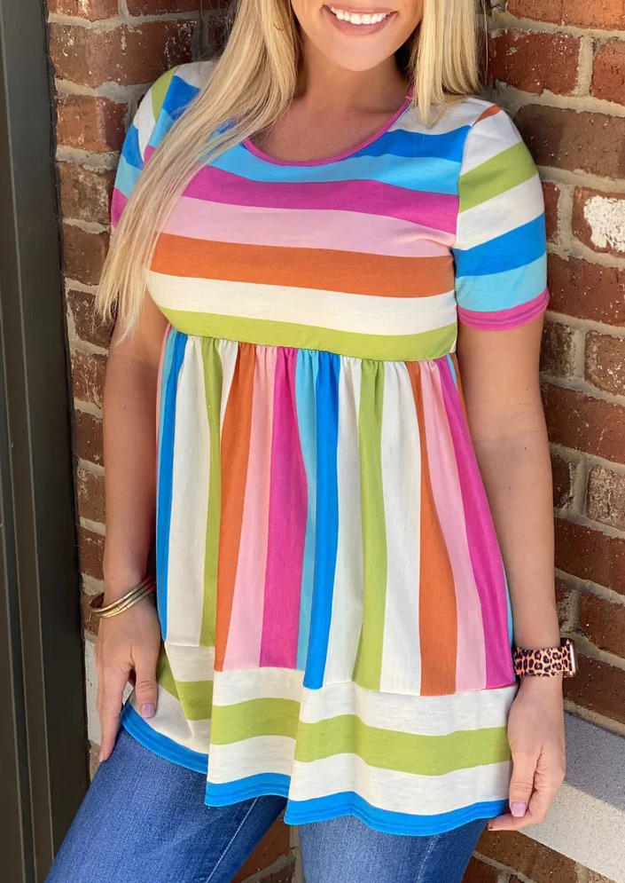 Colorful Striped Ruffled Blouse