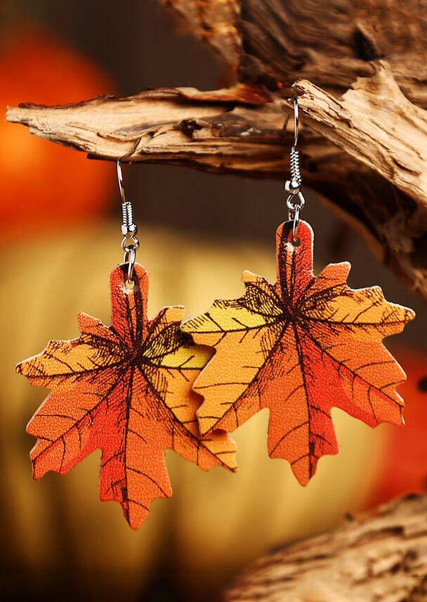 Fairyseason coupon: Maple Leaf Plaid Leather Earrings